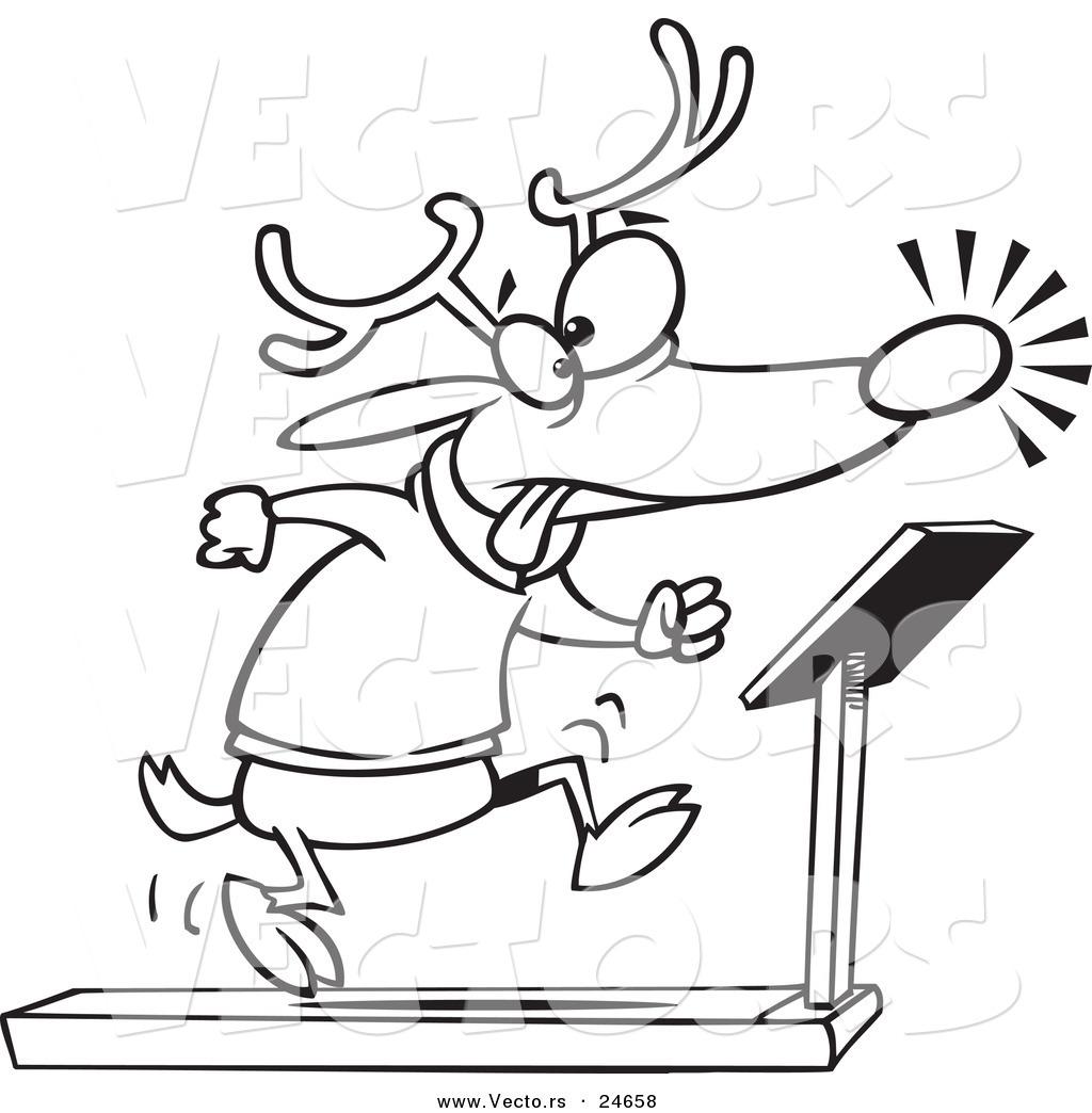 1024x1044 Vector Of A Cartoon Christmas Reindeer Running On A Treadmill