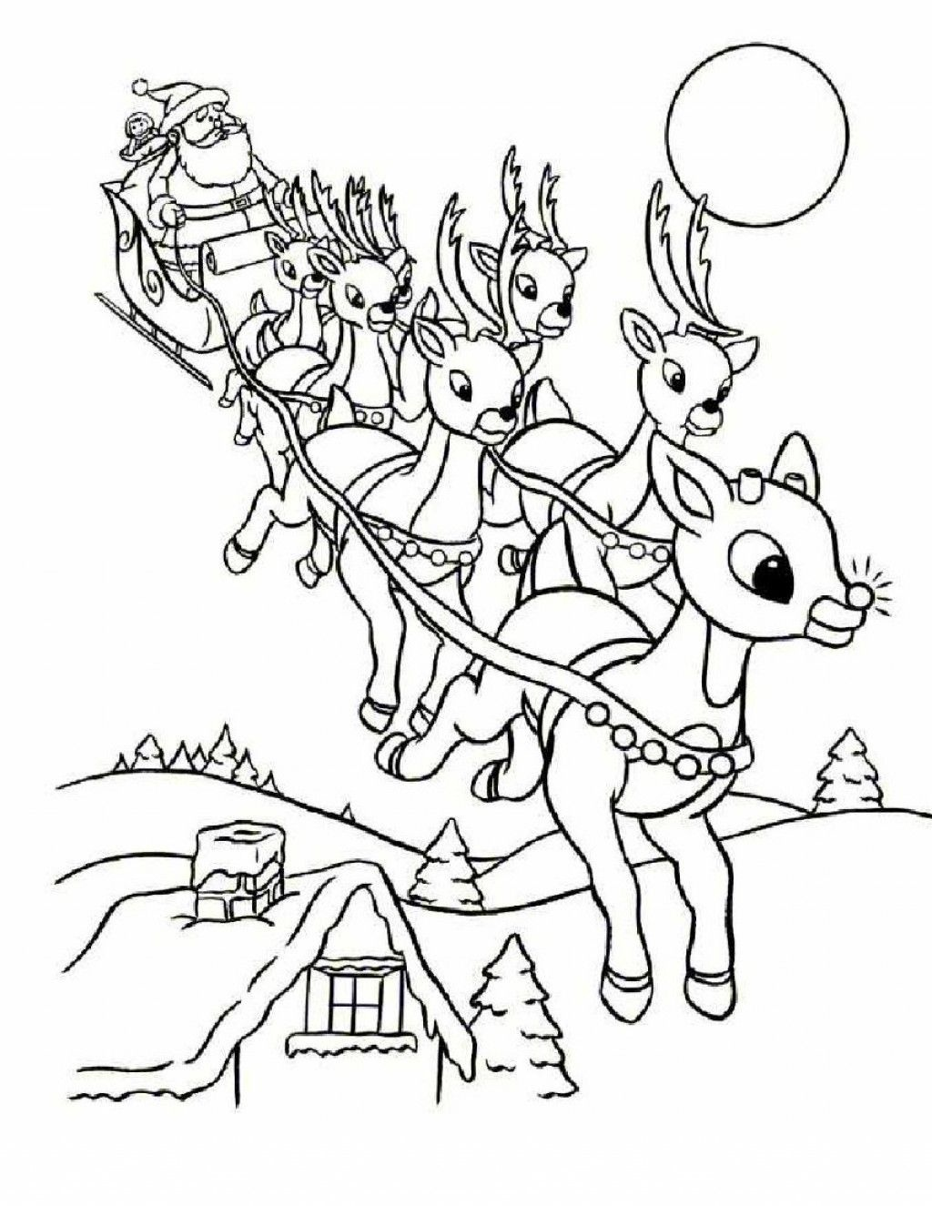 1024x1325 Coloring Pages Of A Rudolph Reindeer In Cartoon Free Coloring Sheets