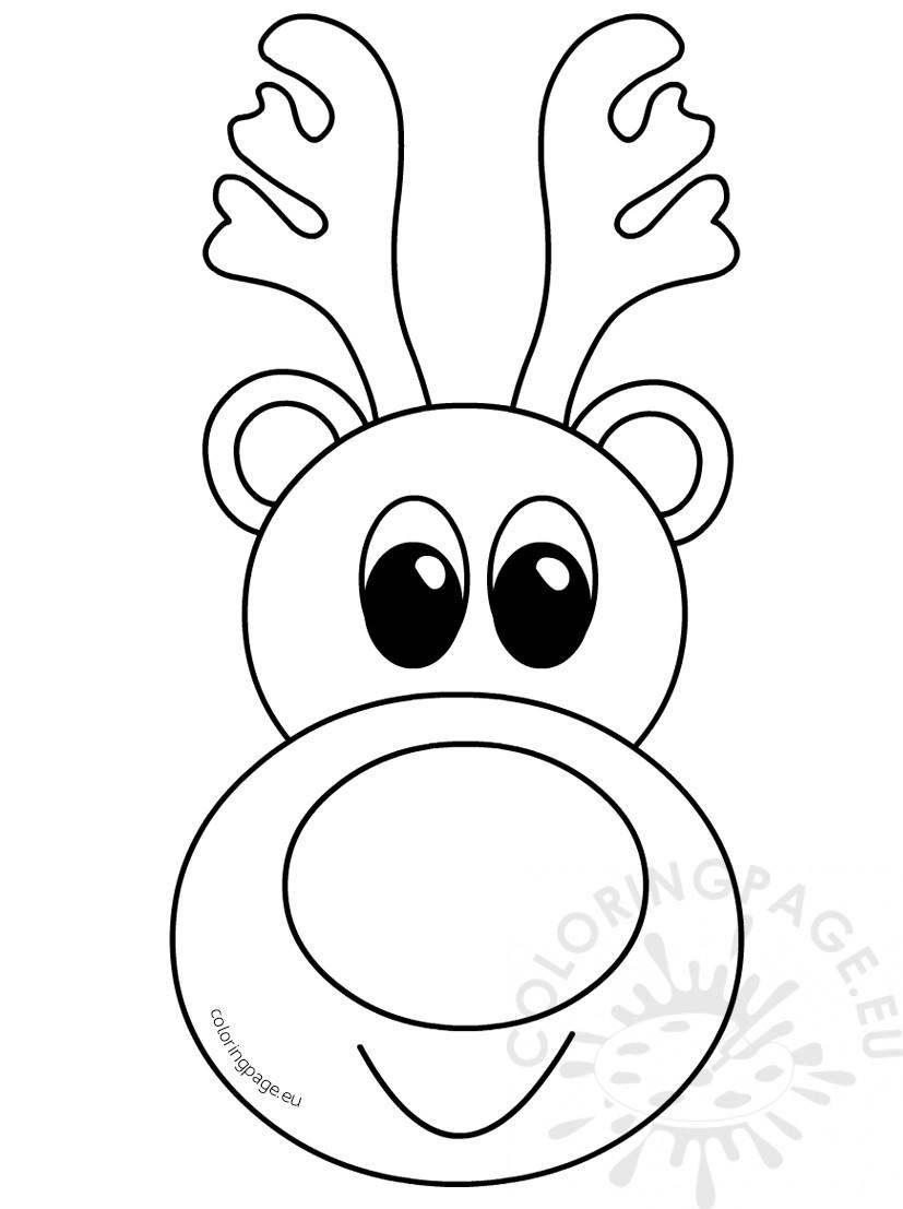 827x1107 Cute Reindeer Head Cartoon Outline Coloring Page