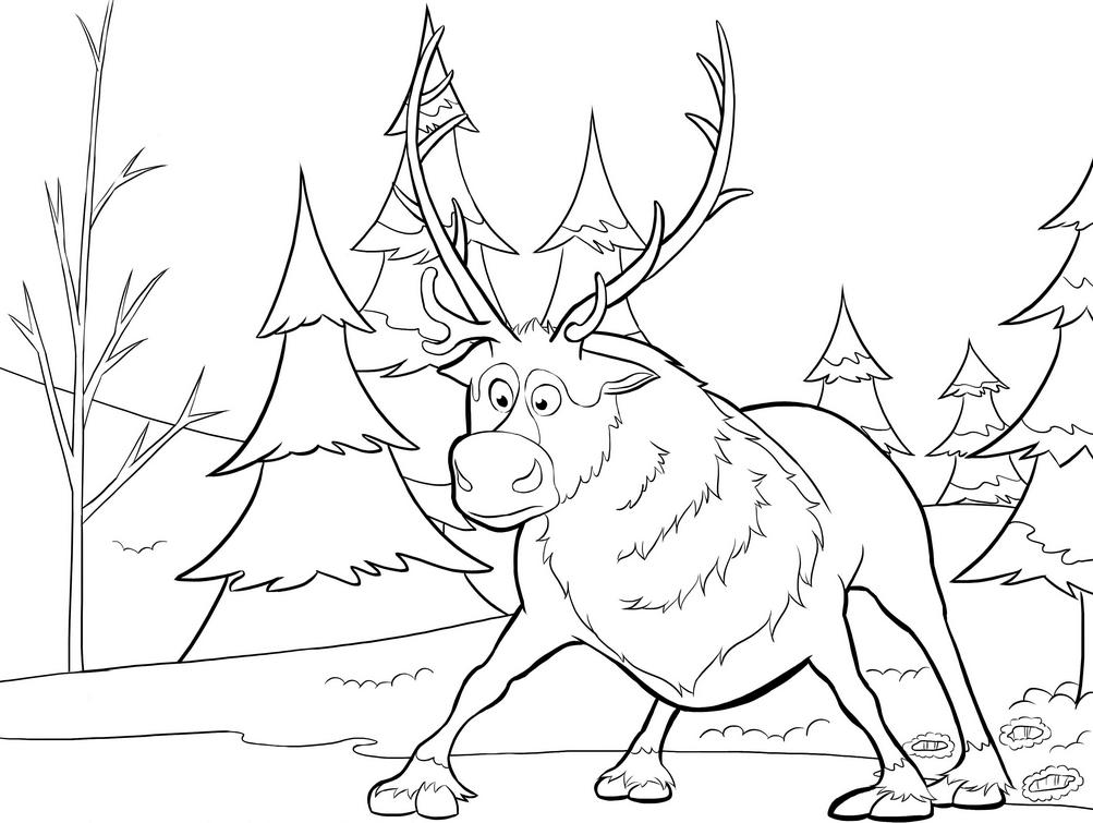 1003x755 Printable Sven Reindeer Coloring Page