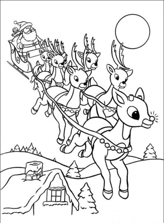 550x748 Rudolph The Red Nosed Christmas Reindeer Coloring Pages Craft