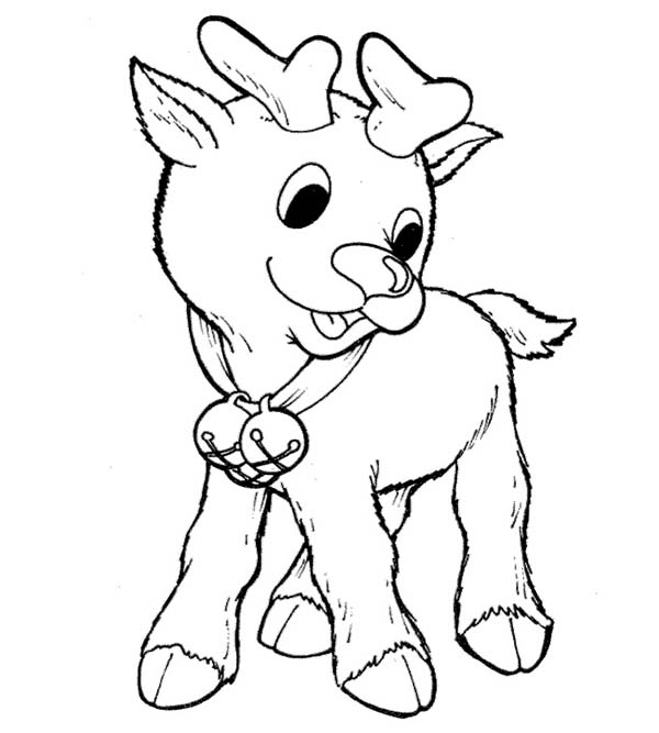 600x667 Little Rudolph The Red Nosed Reindeer Coloring Page Color Luna