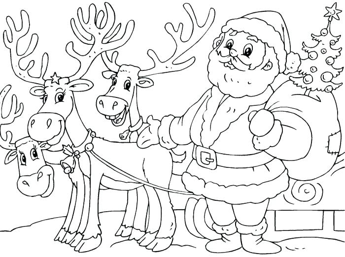 700x522 Christmas Santa Coloring Pages Coloring Pages And Reindeer