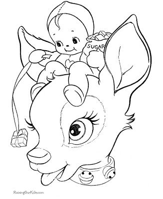 327x400 Printable Santa Face Reindeer Face Colouring Pages