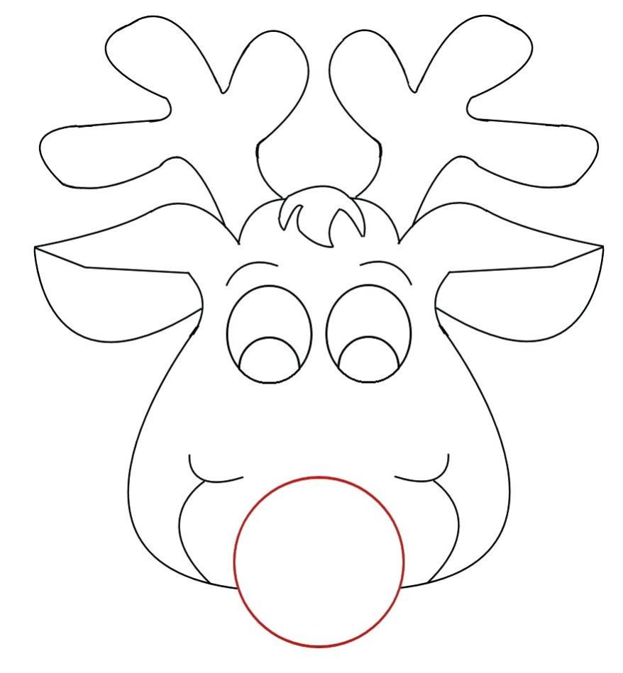 878x949 Cow Mask Printable Coloring Pages Reindeer Face Template