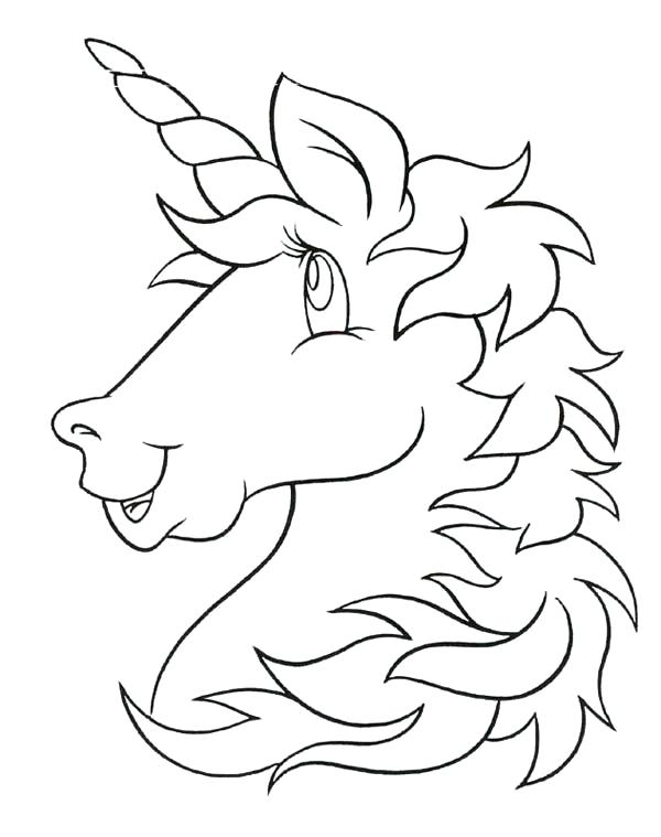 600x759 Head Coloring Page A Cartoon Head Figure Of Unicorn Coloring Page