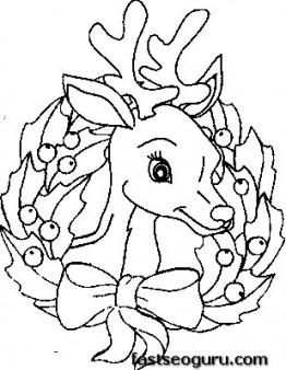 262x338 Reindeer Head Coloring Page