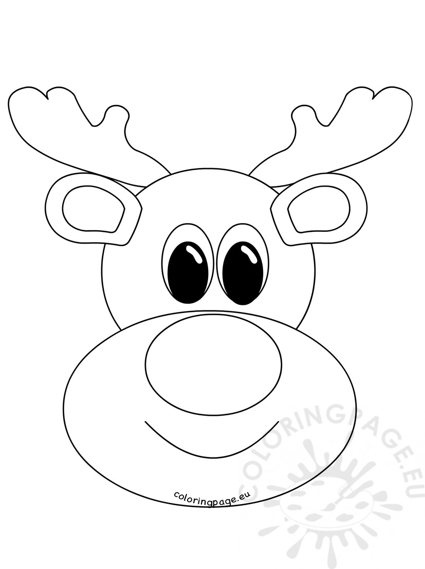 827x1107 Rudolph Reindeer Face Craft Coloring Page