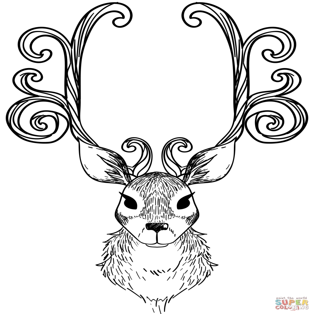 1024x1024 Christmas Reindeer Coloring Page Free Printable Coloring Pages