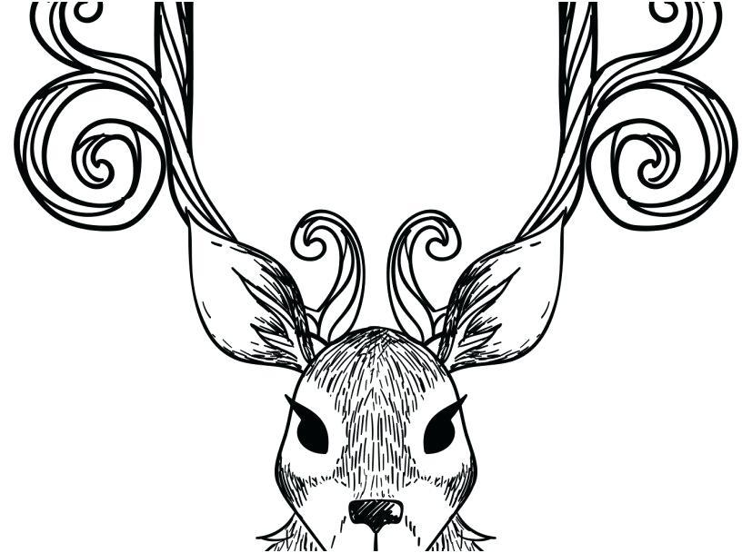 827x609 Reindeer Coloring Page
