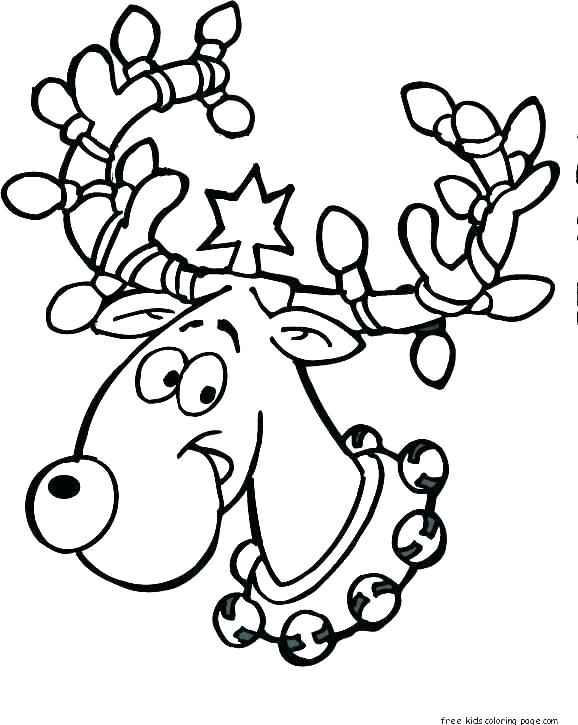 578x725 Coloring Pages Of Reindeer Reindeer Face Coloring Page Head