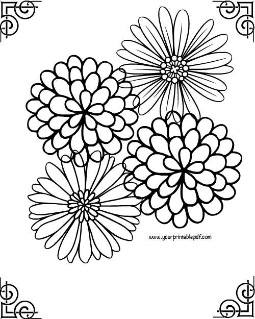 500x625 Relaxing Framed Flower Adult Coloring Page