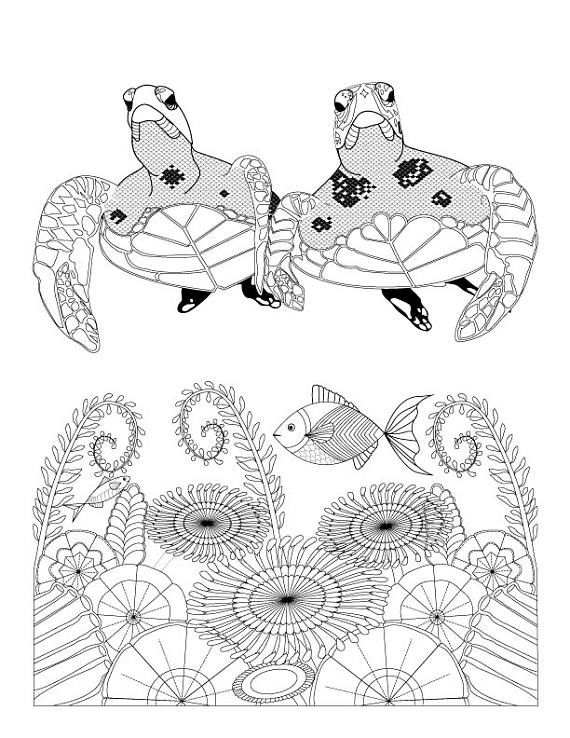 570x738 Sea Turtles And Ocean Flowers Coloring Page For Adults, Digital