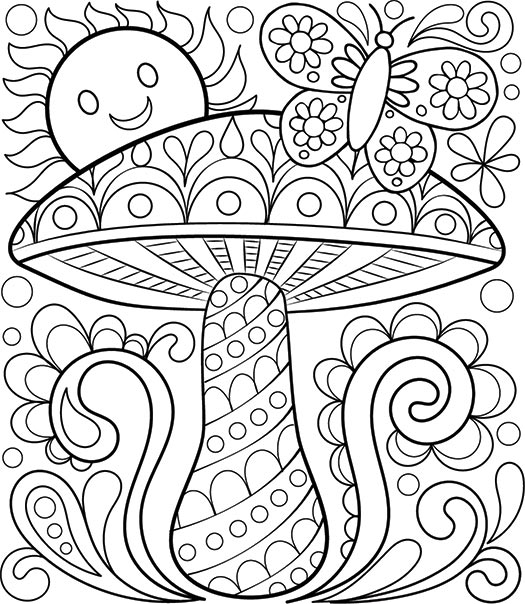 525x604 Crafty Ideas Relaxation Coloring Pages Free Adult Detailed