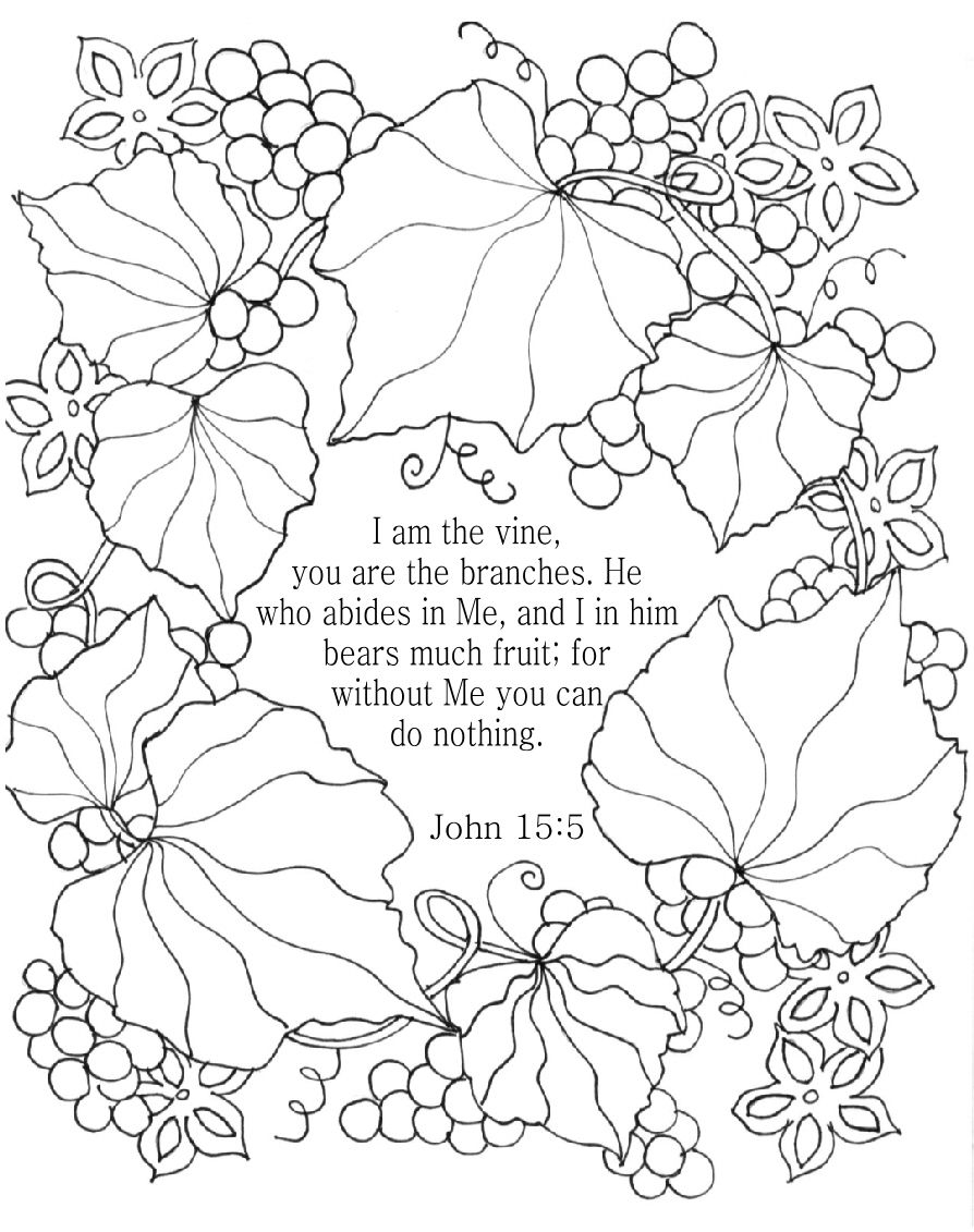 894x1131 New I Am The Vine Bible Coloring Page For Adults John Nkjv