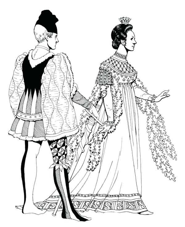 600x734 Dress Up Coloring Pages Renaissance A Couple Is Having Fight