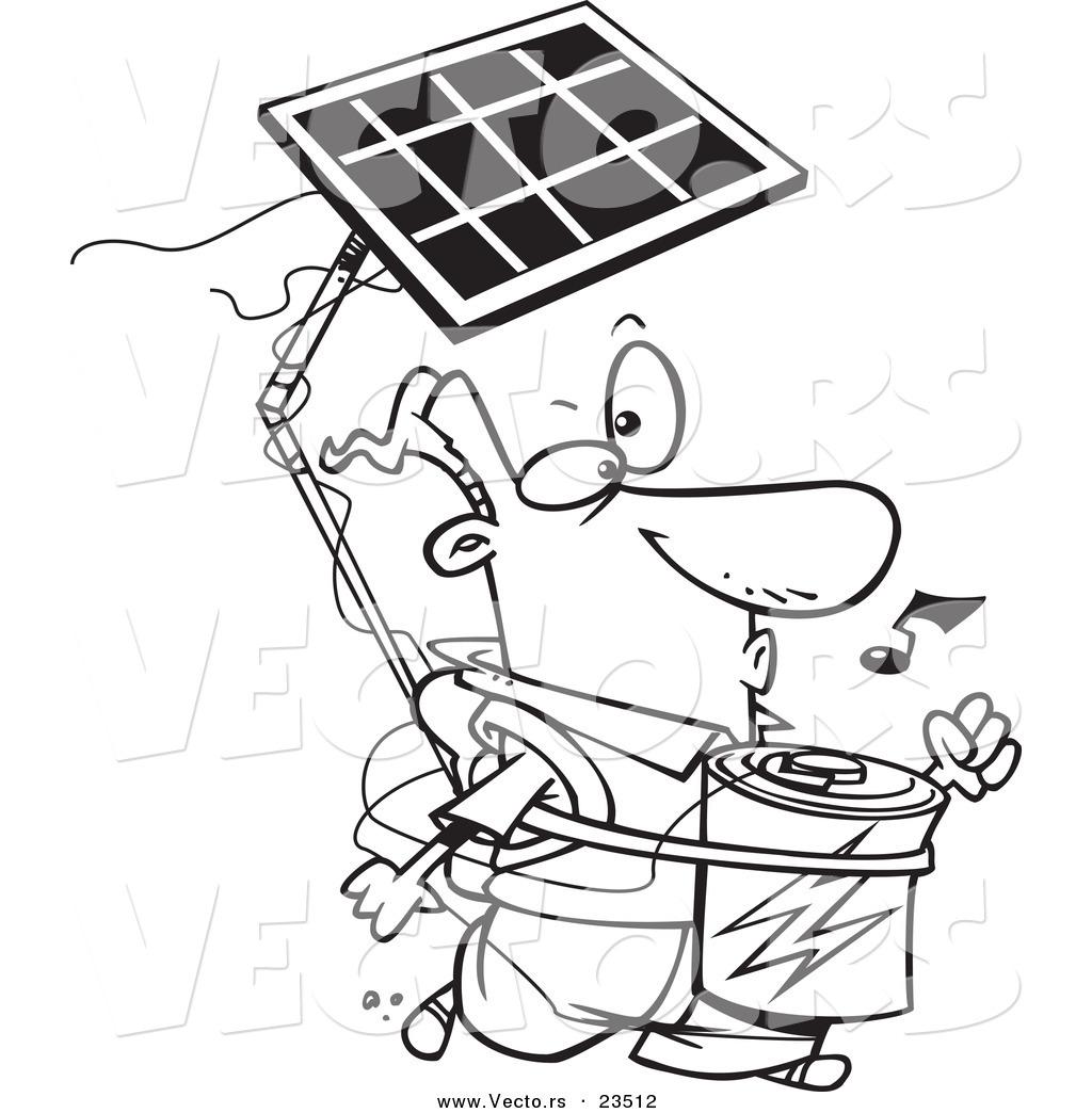 1024x1044 Cartoon Vector Of Cartoon Solar Power Guy