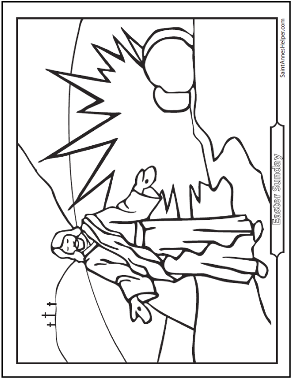590x762 Resurrection Coloring Page Jesus On Easter Sunday