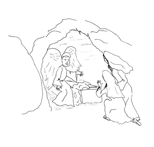 600x574 Cave Where Jesus Buried In Jesus Resurrection Coloring Page