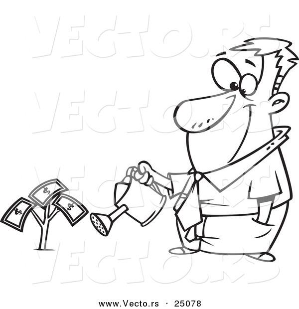 600x620 Vector Of A Cartoon Man Watering His Money Plant