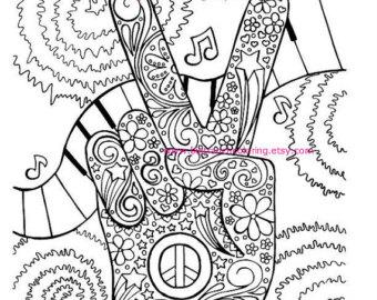 340x270 Wondrous Design Hippie Coloring Pages Adult Page Retro Peace