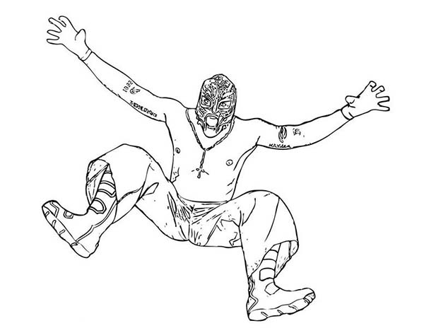 600x464 Wrestling Opponent Rey Mysterio Coloring Page Color Luna