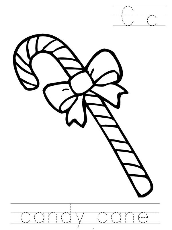 600x800 Candy Cane With Beautiful Ribbon Coloring Page