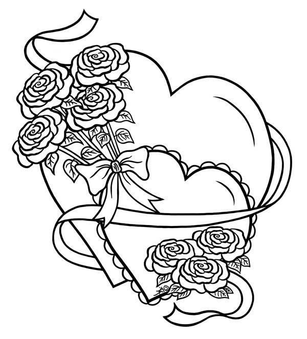 600x663 Hearts Roses, Hearts And Roses Tied With Ribbon Coloring Page