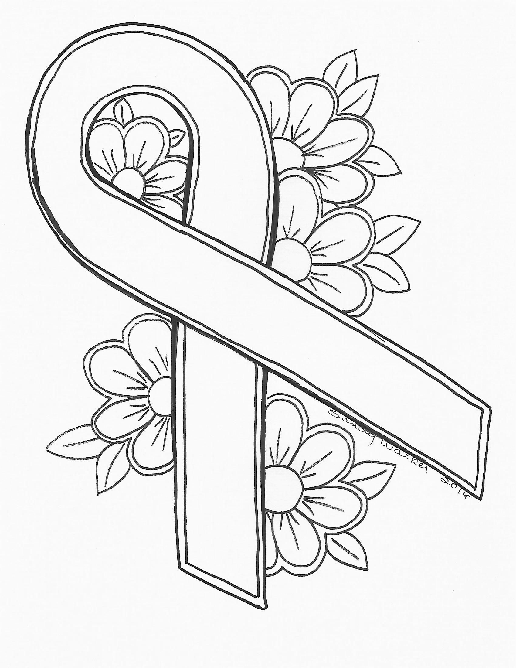 1700x2200 Pink Ribbon Coloring Page Free Download For Breast Cancer
