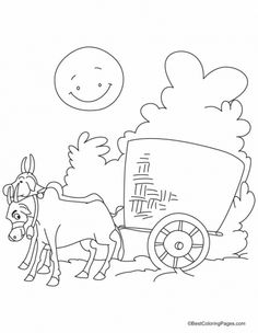 236x304 A Bullock Cart Piled High With Rice Straw Coloring Pages
