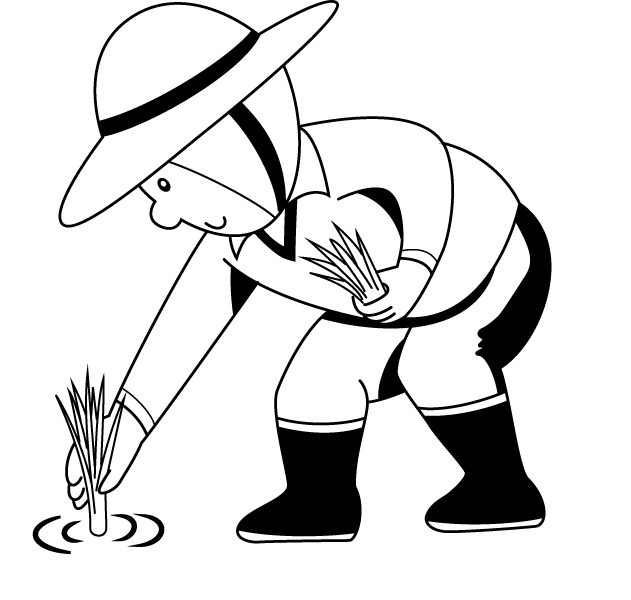 631x600 Planting Rice Coloring Page