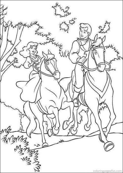 499x700 Cinderella And Prince Riding Horses Coloring Page Cinderella