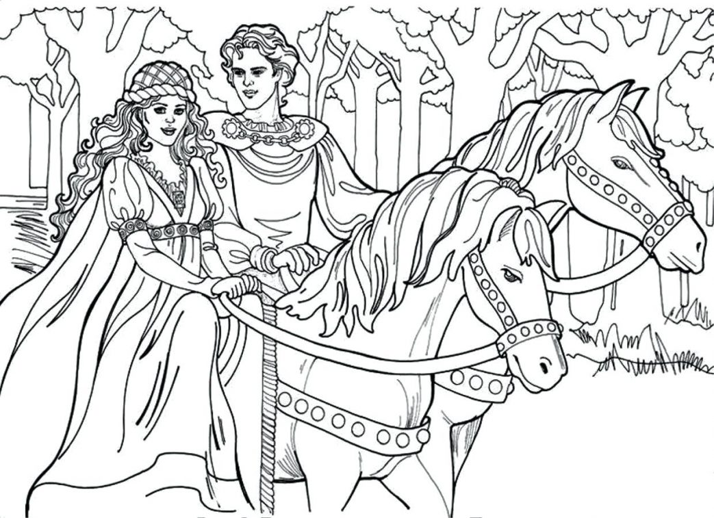 1043x757 An Indian On The Horse In Horses Coloring Page Derby Pages Animal