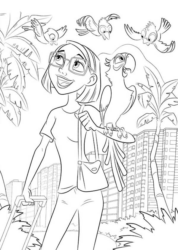 600x840 Rio Coloring Pages Linda Gunderson And Blu Arrived In Rio Brazil