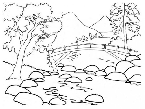500x376 Beautiful River Bank Landscape Coloring Pages Coloring Tog Art