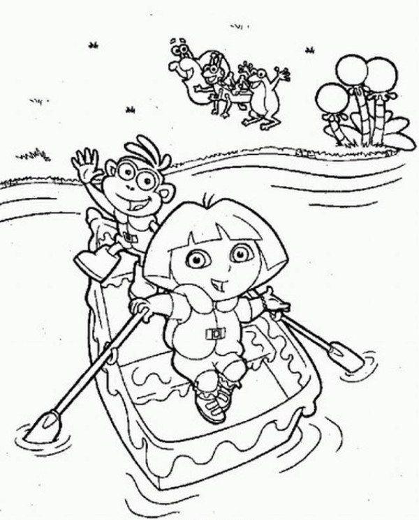 600x746 Dora And The Best Friend Monkey Cross River Coloring Page