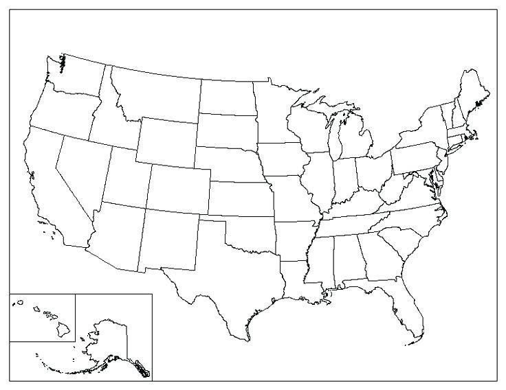 736x568 Free United States Map Printable