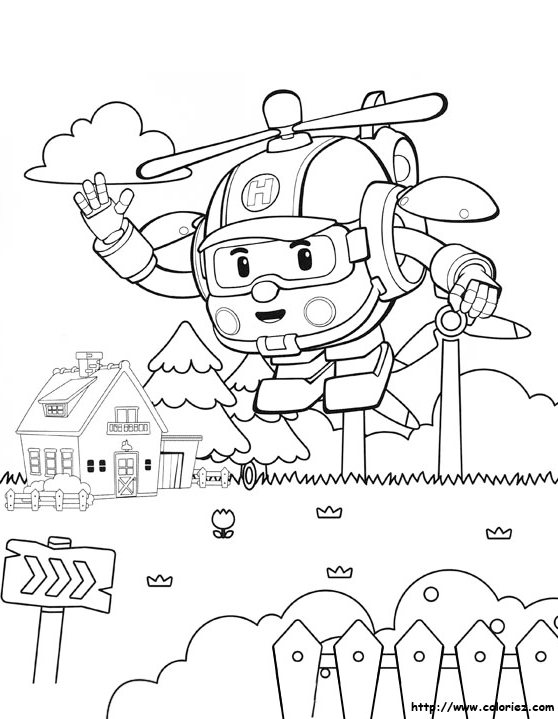 558x719 Robocar Poli Coloring Pages To Teach Road Safety For Kids