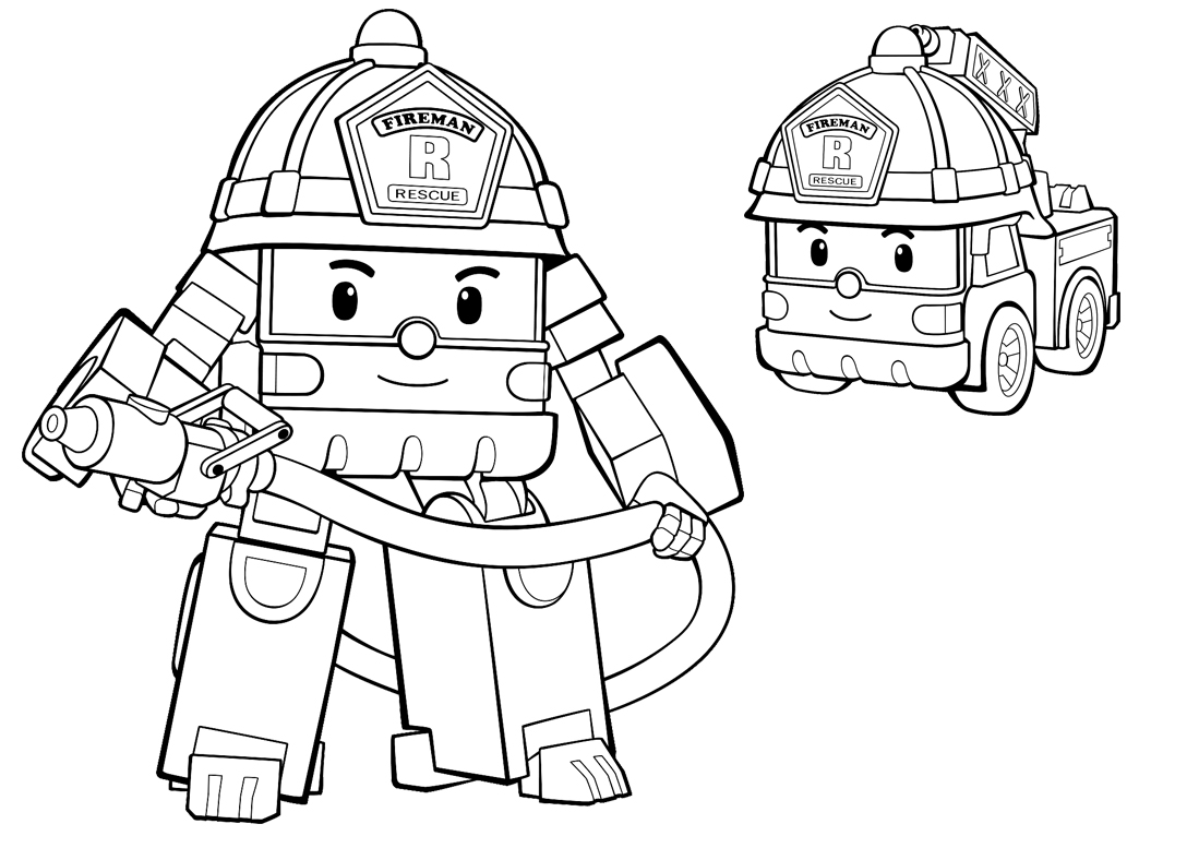 1099x777 Robocar Poli Colouring Pages