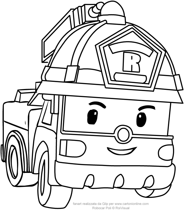 618x709 Roy In Car Version From Robocar Poli Coloring Pages