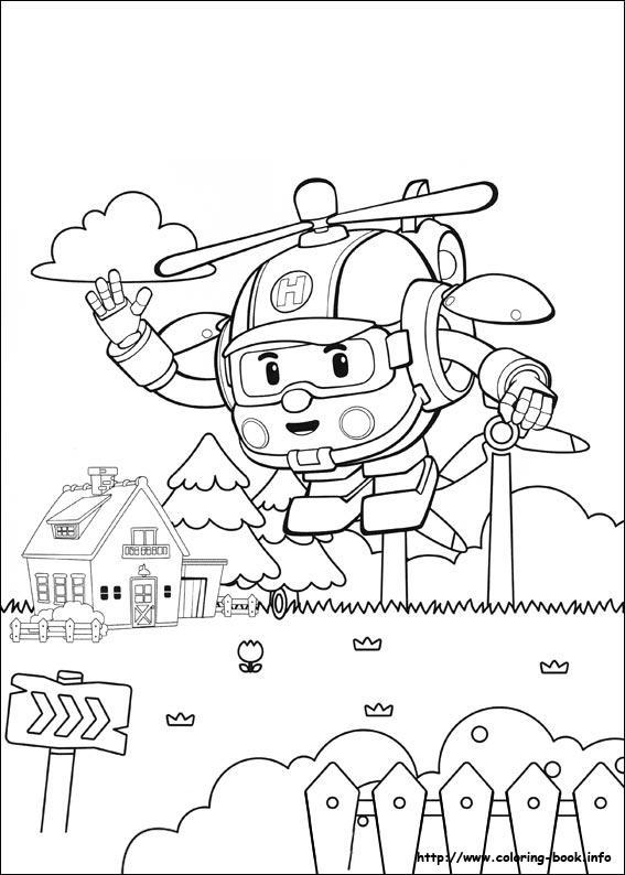 567x794 Mature Colors Robocar Poli Coloring Page