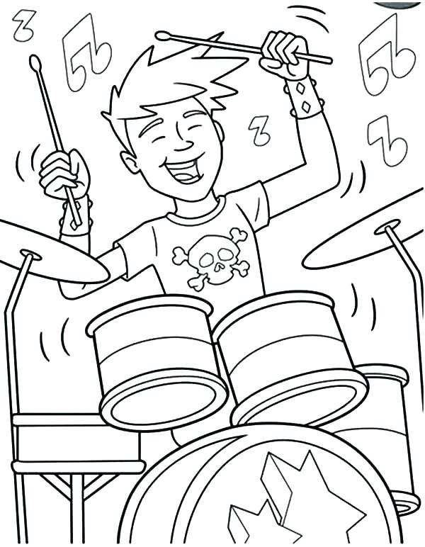 600x772 Rock Coloring Pages Rock N Roll Coloring Pages Snare Drum Coloring