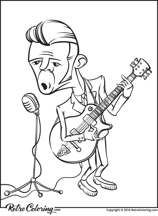 660x900 Rock N Roll Guitarist Singer Coloring Page Retrocoloring And Pages