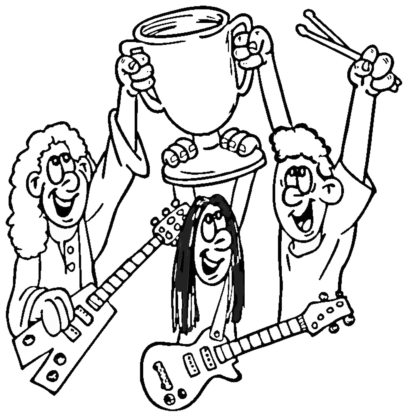1391x1400 Promising Rock Band Coloring Pages Free For Kids