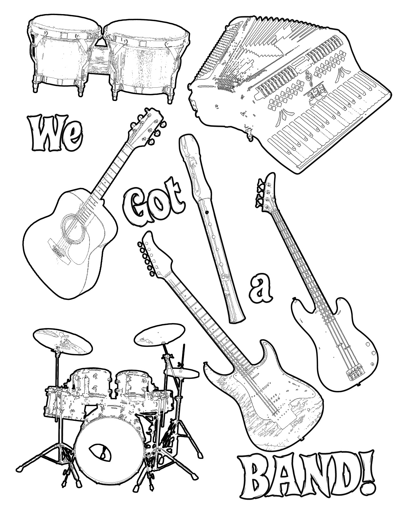 1275x1650 Challenge Rock Band Coloring Pages New Music Best I Unknown