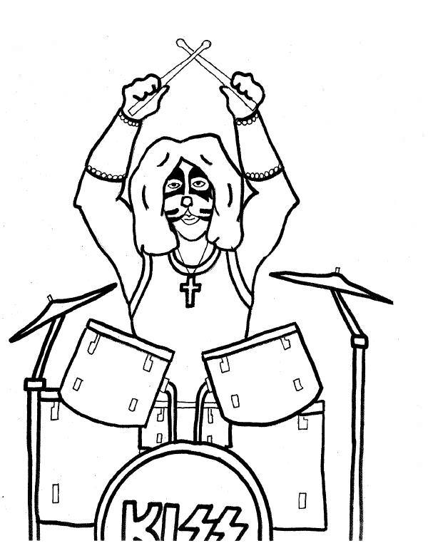 600x776 Kiss Rock Band Coloring Pages