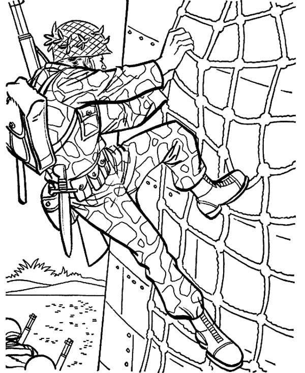 600x734 Military Drill Wall Climbing Coloring Pages Color Luna