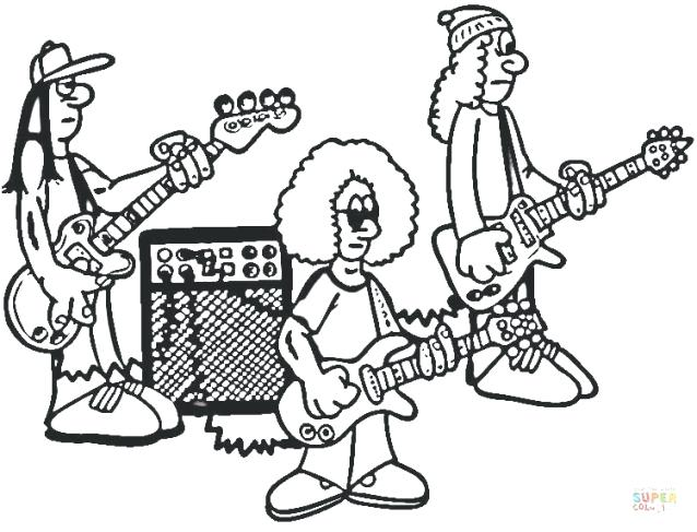 638x487 Rock And Roll Coloring Pages Rock Band On Rehearsal Coloring Page
