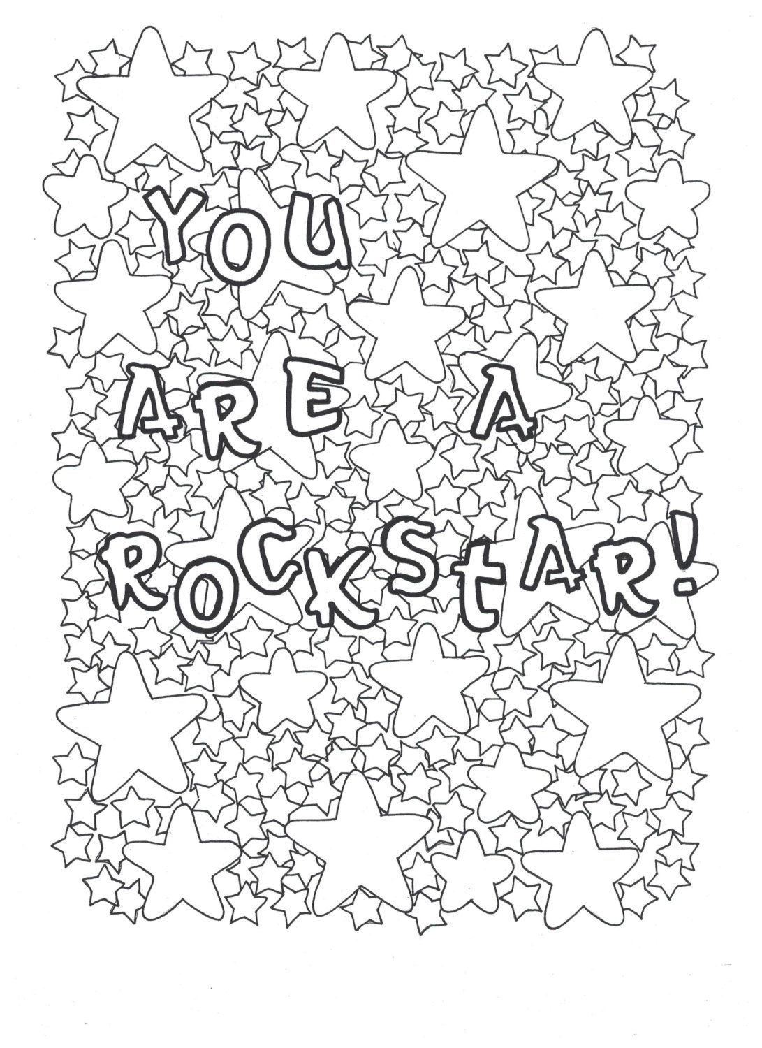 1091x1500 You Are A Rockstar Coloring Page Positive Affirmations, Coloring