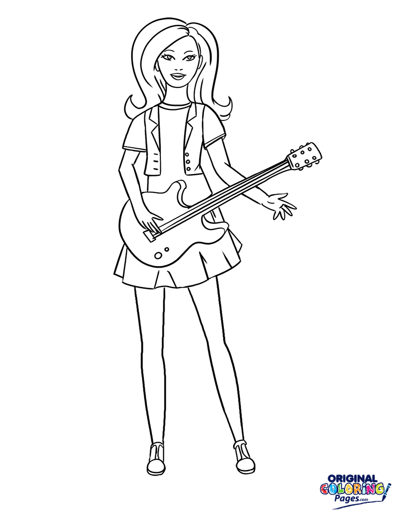 815x1056 Barbie Rock Star Coloring Page Coloring Pages Original